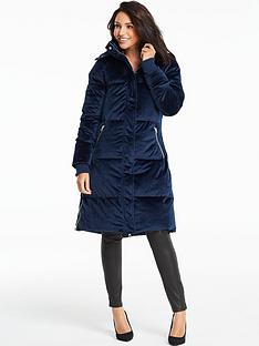 michelle-keegan-velvet-longline-padded-coat