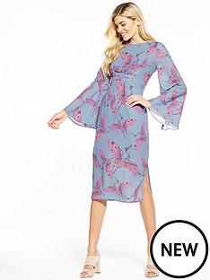lost-ink-printed-tie-waist-column-dress