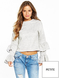 lost-ink-petite-ruffle-sleeve-sweat-dark-grey