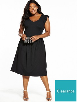 lost-ink-curve-ribbed-skater-dress-with-frill-sleevenbsp