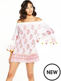 south-beach-off-the-shoulder-bell-sleeve-pom-pom-beach-dress-white