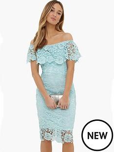 paper-dolls-mint-crochet-lace-flutednbspbardot-dress
