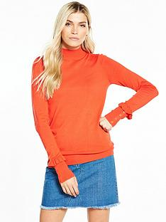 v-by-very-frill-button-cuff-turtleneck-jumper-new-red