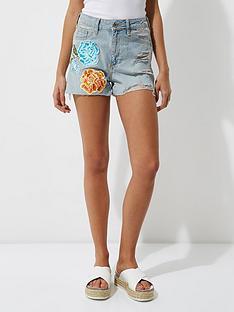 river-island-flower-badge-denim-shorts