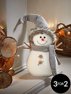 30cmnbspgrey-plush-snowman-christmas-decoration