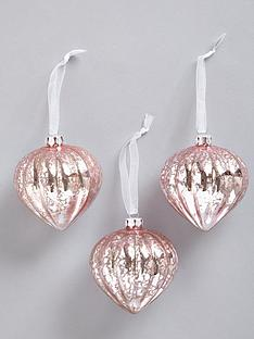 pink glass onion hanging christmas tree decorations 3 pack