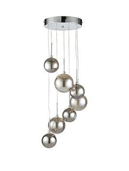 Cluster lights ceiling lights lighting home garden www locarno smokey globe 7 light glass cluster pendant aloadofball Gallery