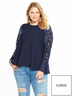 v-by-very-curve-lace-sleeve-knitted-top