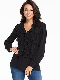 michelle-keegan-pom-pomnbsptrim-ruffle-front-blouse