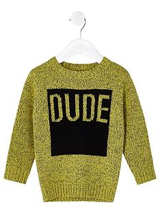 river-island-mini-boys-yellow-039dude039-jumper
