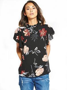 ax-paris-floral-printed-frill-sleeve-top