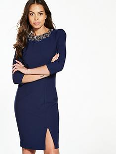 little-mistress-embellished-trim-pencil-dress