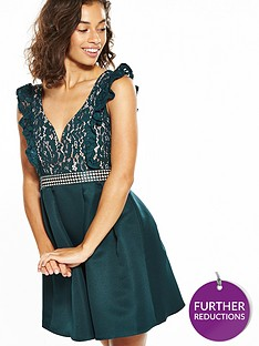 little-mistress-petite-mini-lace-trim-skater-dress