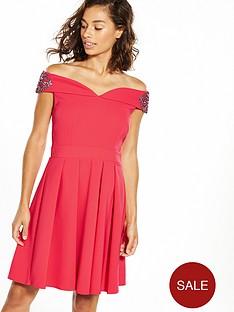 little-mistress-petite-off-shoulder-wrap-midi-dress