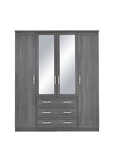 camberley-4-door-3-drawer-mirrored-wardrobe