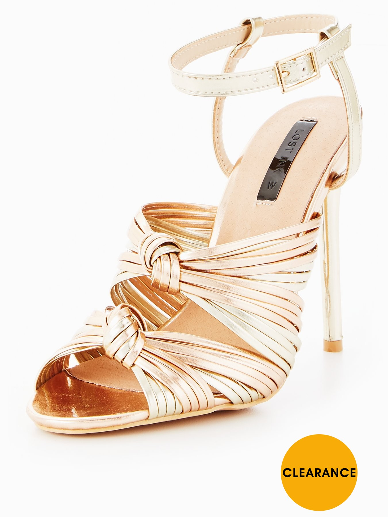 Lost Ink Wide Fit Beth Double Knot Dance Shoe Rose Gold 1600188738 Women's Shoes Lost Ink Heels