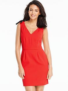 michelle-keegan-bow-trim-v-neck-dress