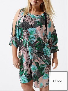 ri-plus-split-sleeve-green-printed-dress