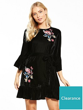v-by-very-embroided-velvet-wrap-dress