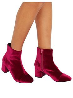 miss-selfridge-pink-velvet-mid-heel-boot