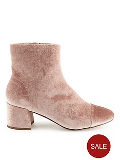 miss-selfridge-nude-velvet-mid-heel-boot