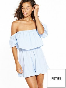 miss-selfridge-petite-stripe-poplin-bardot-playsuit