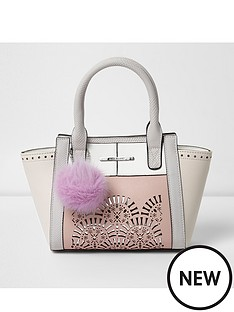 river-island-river-island-girls-lazercut-wing-tote-with-pom-pom