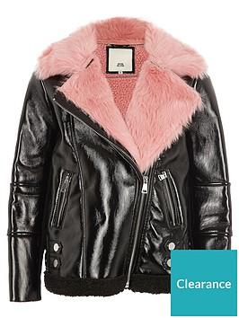 river-island-girls-black-vinyl-pink-borg-aviator-jacket