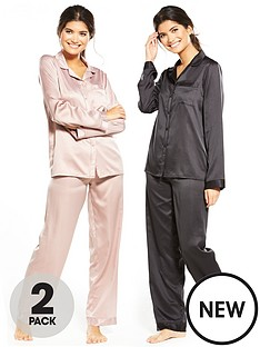 v-by-very-2-pack-long-sleeve-satin-pyjamas