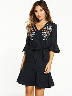 warehouse-placed-embroidered-shirt-dress-black