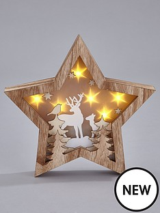 gisela-graham-gisela-wooden-star-with-deers-light-box