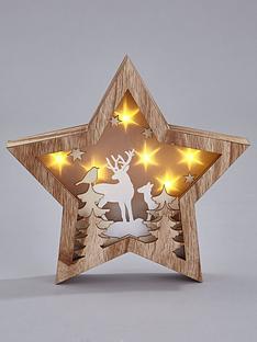 gisela-graham-wooden-star-forest-scene-light-box-christmas-decoration