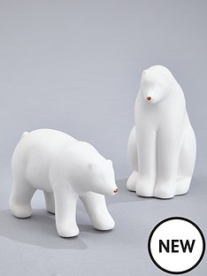 gisela-graham-white-ceramic-polar-bear-christmas-decorations-set-of-2