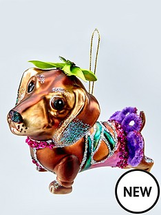 gisela-graham-painted-glass-dachshund-christmas-hanging-decoration