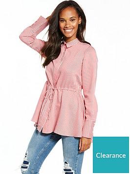 v-by-very-stripe-pearl-cuff-drawstring-shirt