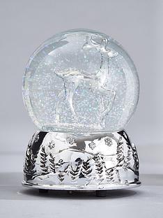 gisela-graham-glasssilver-stag-musical-snow-globe-christmas-decoration