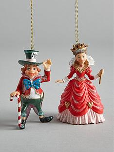 gisela-graham-mad-hatter-and-queen-of-hearts-hanging-christmas-tree-decorations-2-pack