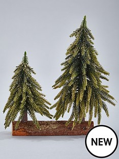 gisela-graham-green-glitter-double-fir-tree-christmas-ornament