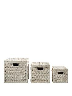 Set Of 3 Arrow Weave Lidded Storage Boxes