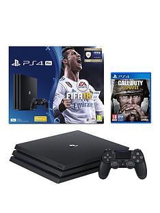 playstation-4-pro-pronbspconsole-with-fifa-18-and-call-of-duty-world-war-iinbspplus-optional-extra-controller-andor-12-months-playstation-network