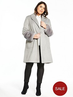 v-by-very-curve-faux-fur-cuff-coat-grey