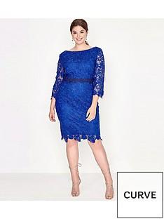 paper-dolls-curve-crochet-lace-contrast-trim-dress