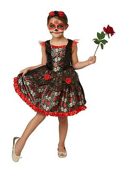 Childs Red Rose Day Of The Dead Halloween Costume ...