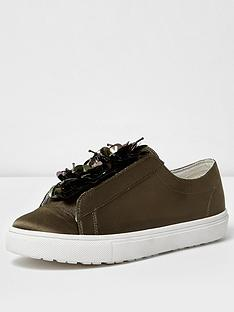 river-island-khaki-satin-lace-up-trainer
