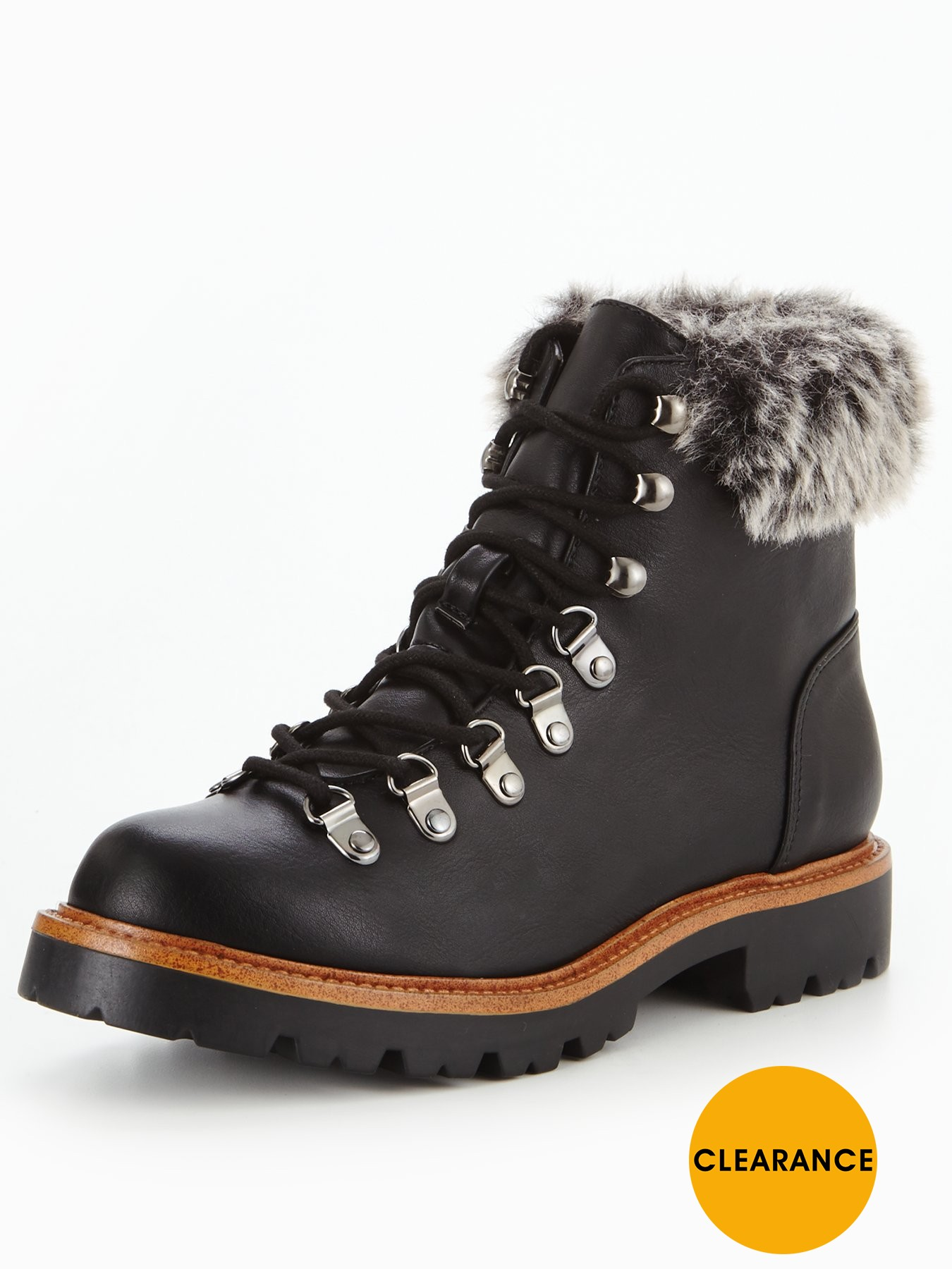 V by Very Fey Chunky Sole Faux Fur Hiker Boot Black 1600192905 Women's Shoes V by Very Boots