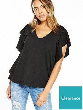 v-by-very-frill-side-detail-top-black