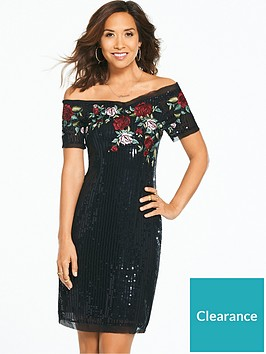 myleene-klass-sequin-embroiderednbsprose-dress-black