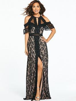 6c182d5fc4a Myleene Klass Cold Shoulder Lace Maxi Dress - Black ...