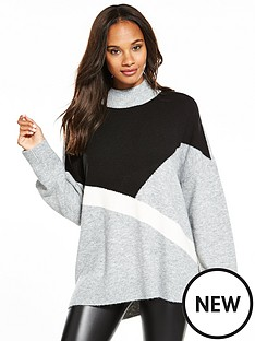 v-by-very-colour-block-stepped-hem-tunic
