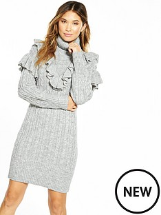 v-by-very-chunky-cable-frill-roll-neck-knit-dress
